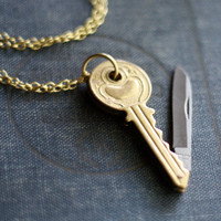 Key Shaped Brass Pocket Knife Necklace by contrary on Etsy