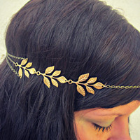 golden leaves head chain, chain headband, grecian headband, metal headband, unique headband