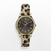 Timex Gold Tone Leopard-Print Leather Watch - T2P090 - Women