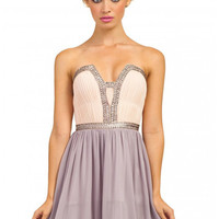 Little Mistress Embellished Sweetheart Bandeau Prom Dress