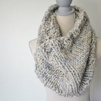 Gray and Oatmeal Chunky Cowl/Shrug - MADE TO ORDER - Knit Infinity Scarf - Chunky Knit Cowl