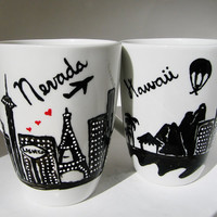 Long Distance Relationship, Moving Gift State to State Mugs w/ hearts Set of 2, , Skyline, World Traveler, Personalized, Couples Love Mug