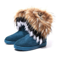 Women's Bohemian Winter Furry Boots with Long Fur
