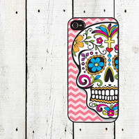 Day of the Dead iPhone Case - Pink Chevron Sugar Skull iPhone Case - iPhone 4, 4s - iPhone 5 Case