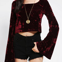 Urban Outfitters - Staring At Stars Velvet Bell-Sleeve Cropped Top