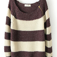 Coffee Zip Classic Color Matching Striped Long Sleeve Sweater