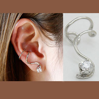 Wrapping Ear Diamond Ear Cuff(Silver,Single, No Piercing) | LilyFair Jewelry