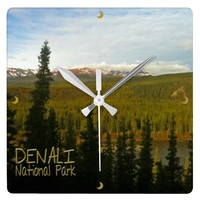 Denali National Park in Alaska Square Wallclocks