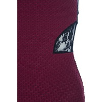 Wine Textured Lace Short Dress