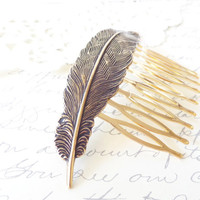Golden Feather Hair Comb - Antique Brass - Woodland Collection - Whimsy - Bridal
