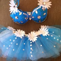 Daisy Light Up Bra - Turquoise/Blue El Wire - Other colors available