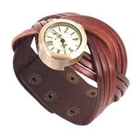 MagicPieces Handmade Leather Belt Braided Bracelet Watch for Women in 3 Colors