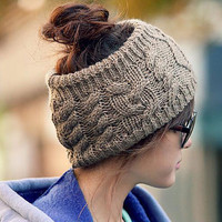 Fashion Ladies Knitted Woolen Elastic Winter Warm Headband Hairband for Women