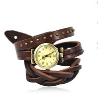 Unisex Leather Wrap Around Watch Color Dark Brown