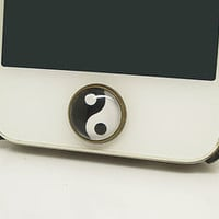 Retro Epoxy Tai Chi Transparent Time Gems Cell Phone Home Button Sticker