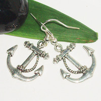 Silver anchor charm earrings casual earring affordable gift