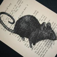 Mouse Print on Vintage Book Page 