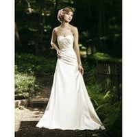 Delicate Strapless Sweetheart Rouched Satin A-Line Best Wedding Dress - Basadress.com