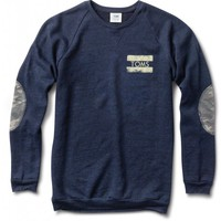 Men's Navy Crewneck Sweatshirt with Camo Elbow Patches