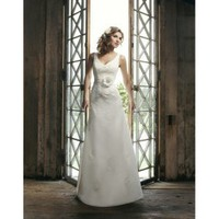 Adorable and Elegant V-Neckline Satin A-Line Vintage Wedding Dress - Basadress.com