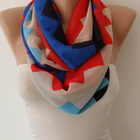Chevron Infinity - Circle -  Loop Scarf - Silk Chiffon Fabric