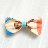 Hair bow, Cute Mini Small Printed Sky Blue, Light brown and Pink peach Fabric Barrette Clip Hair Accessories for Girls Women Handmade