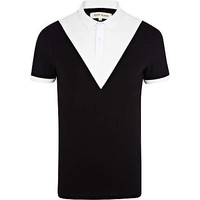 Black and white chevron polo shirt