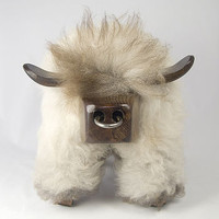 Natural Grey Bull Shaped Sheepskin Footstool