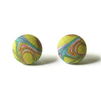 Light Green Abstract Psychedelic Print Fabric Covered Button Earrings