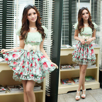 Sweet Womens Korean Floral Flouncing Mini Dress Sundress Belt Layer Hemline 1FA