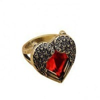 Old Fashion Angel Wings Red Hearts Style Ring  - Rings - Fashion Jewelry