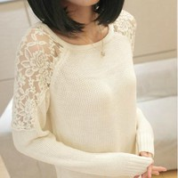 forever2you — HOLLOW OUT LACE ROUND NECK SWEATER 002
