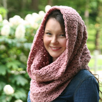Chunky Cowl Scarf Crochet Snood / The Country Club Scarf / Shawl Dusty Rose or Choose Your Color