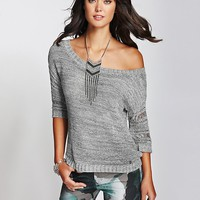 Slouchy Three-Quarter Sleeve Marled Sweater at Guess