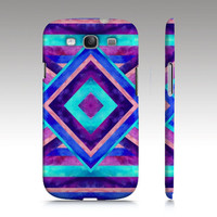 Samsung Galaxy S3 case, Galaxy S4 case, color-block stripe tribal geometric in watercolor, aqua pink purple painting art for your phone
