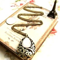 Vintage White Stone Necklace Amulet
