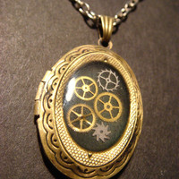 Steampunk Sprocket and Gear Locket Necklace  by CreepyCreationz