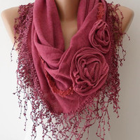 Autumn Scarf - Rose Pink Scarf with Roses - Knit Tricot Fabric  Scarf with Trim Edge -