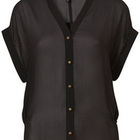 Side Tuck Chiffon Blouse - Tops  - Clothing  - Topshop