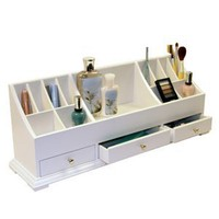 Large Personal Organizer with Drawers (White) (9&quot;H x 24&quot;W x 6&quot;D)