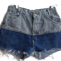 High Waisted Denim Shorts Two Toned Vintage Shorts Size 4/5