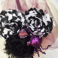 Halloween headband with purple glitter spider and black and white shabbies