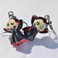 Vampire dangle charm earrings