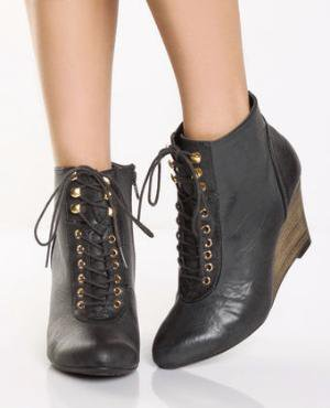 Qupid Ophelia 01 Black Burnished Wedge Ankle Boots - &amp;#36;31.00