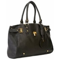 MG Collection LUCCA Black Glamour Padlock Shopper Hobo Handbag w/Shoulder Strap
