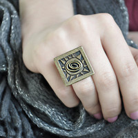 Square Vintage Brass Ring by SanazKhosravi on Etsy