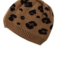 Thick Leopard Print Beanie: Charlotte Russe