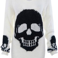 ROMWE | Black Skull Print White Knitted Jumper, The Latest Street Fashion