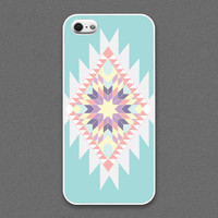 iPhone 4 / 4s case - Tribal : ivory, coral, tiffany teal color - iPhone 4s Case, Cases for iPhone 4, Hard iPhone 4 Case