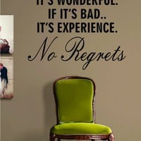 No Regrets Quote Decal Sticker Wall Vinyl Art